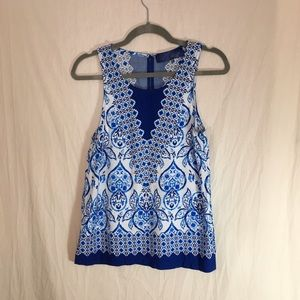 Blue Rain Blue and white Tank Top Size S